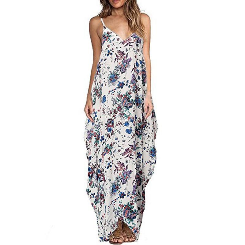 Summer Women Boho Maxi Long Sundress Soft Casual Loose Beach Dress ...
