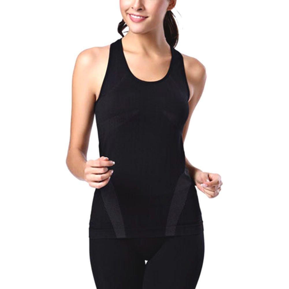 Women solid slim sleeveless tee shirt sports gym yoga fit for Sleeveless dress shirt womens