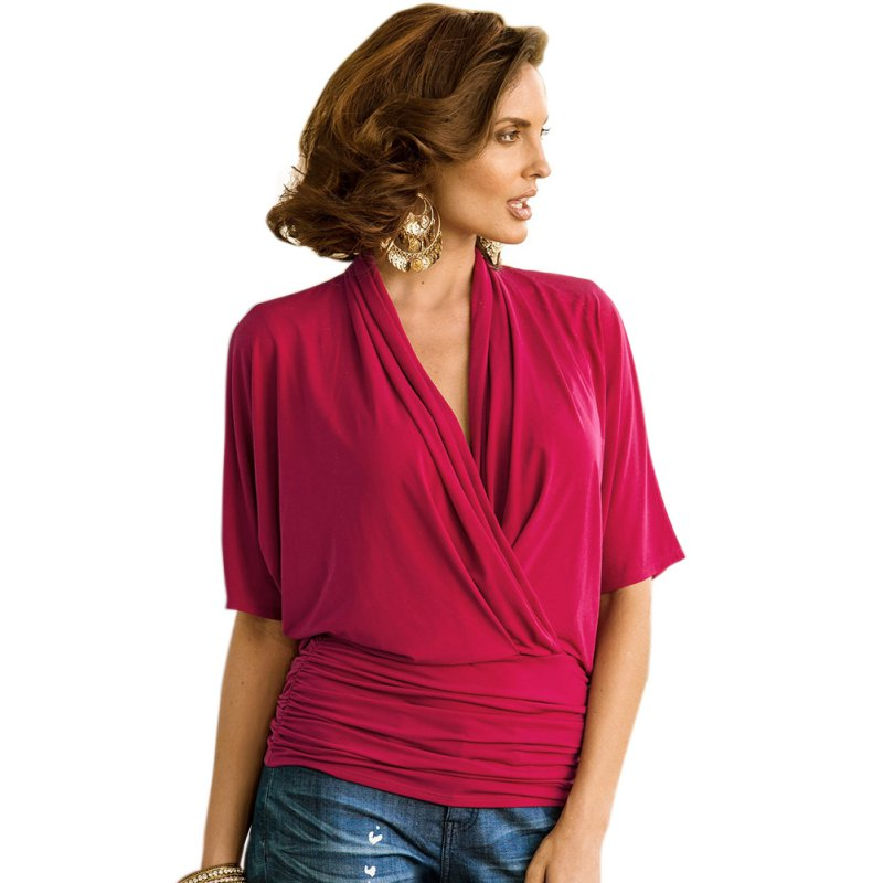 Womens v neck low cut fitted t shirt wrap ruffles short for Low neck t shirts women s