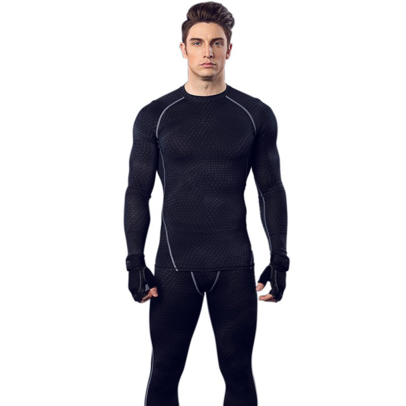 Mens Long Sleeve Tops Tight Shirts Sports Running Fitness