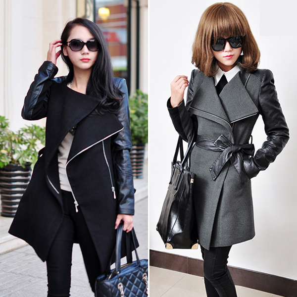 Trendy Womens PU Leather Sleeve Parka Coat Outerwear Winter Warm
