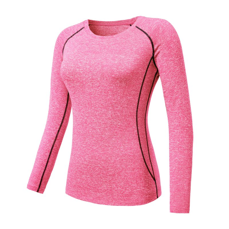 Quick dry women yoga athletic long sleeve sports t shirt for Long sleeve sports shirt