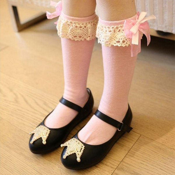Kids Child Baby Girl Knee High Long Socks Lace Bow Cotton