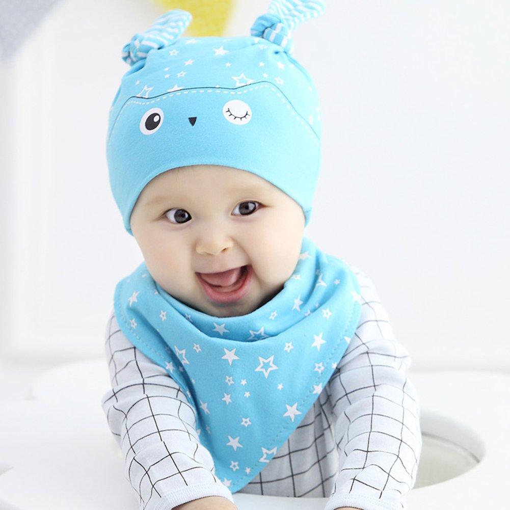 Newborn Baby Boy Girl Toddler Sleep Hat Cap+Saliva Towel ...