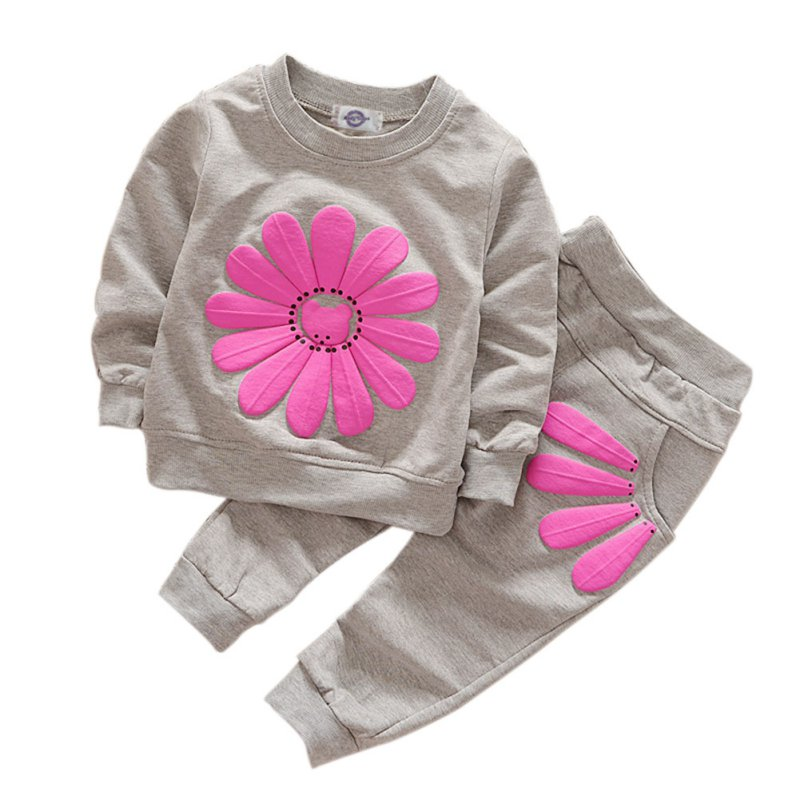 Casual Infant Baby Girl Sports Clothes Sunflower Shirts