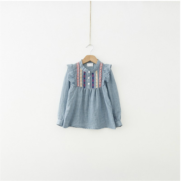 Kids Girls Long Sleeve Embroidered Ruffle Loose Cotton T-shirts Blouse 1-6Y