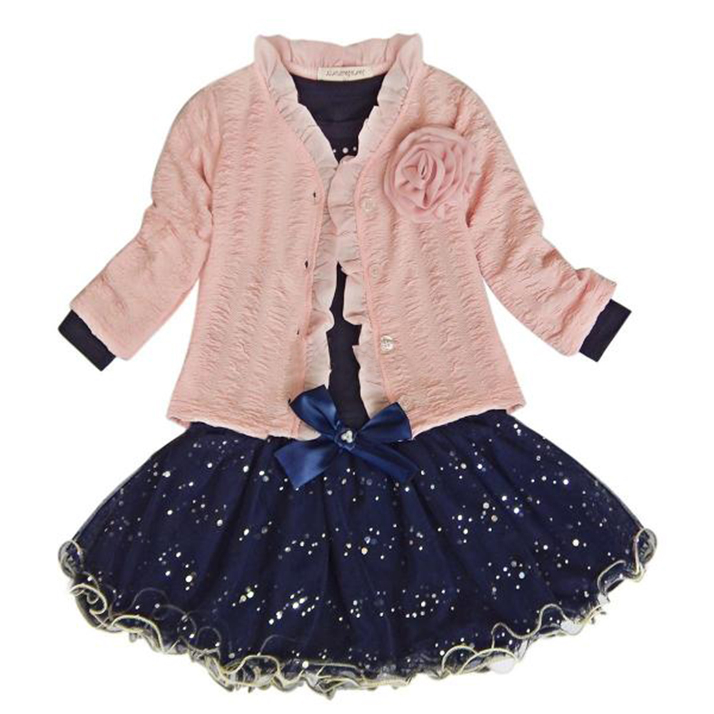 Black t shirt dress ebay - 3pcs Baby Girls Top Coat T Shirt Skirt
