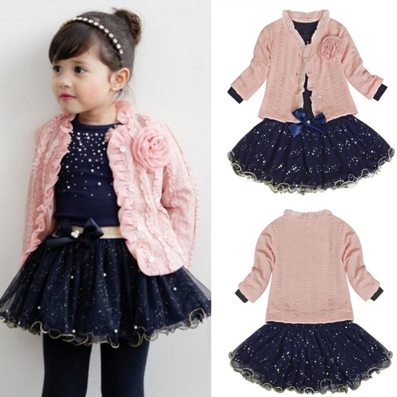 cff23d5e37d 3pcs Baby Girls Top Coat+T-shirt+Skirt Dress Tutu Princess Clothes Set Suit  Pink