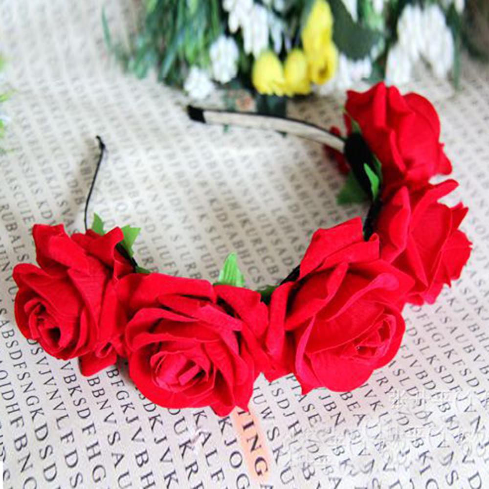 Bridal rose flower crown headband wedding prom beach floral garland bridal rose flower crown headband wedding prom beach izmirmasajfo