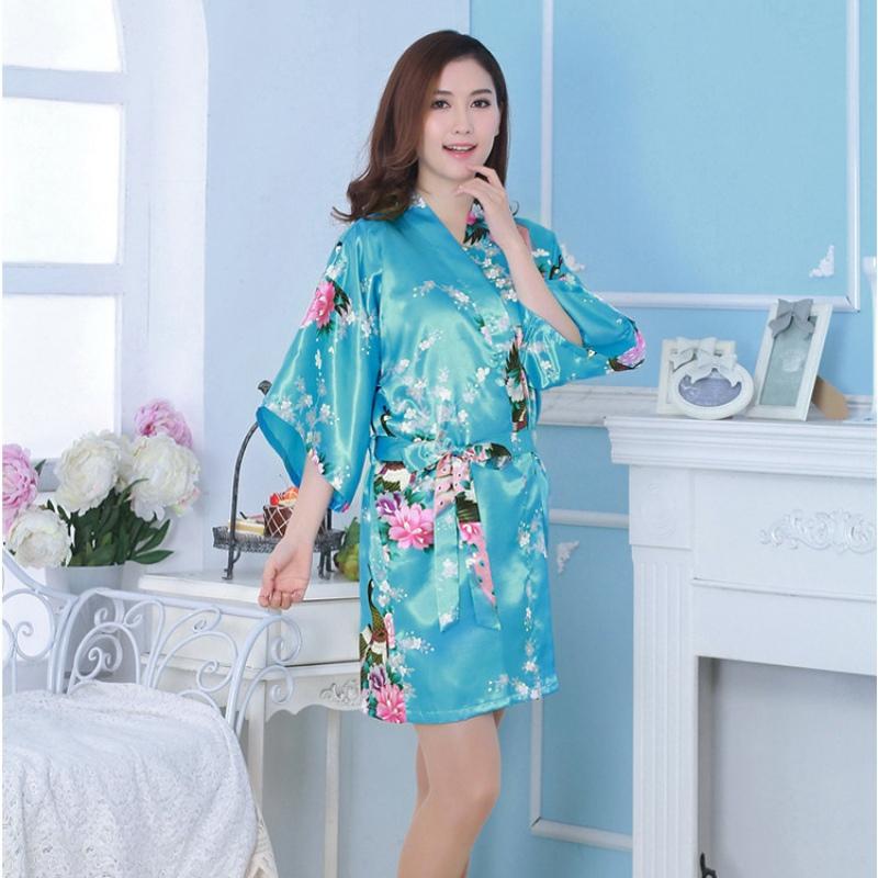 Women silk satin pajamas peacock sleepwear dress bath robe for Bathroom dress