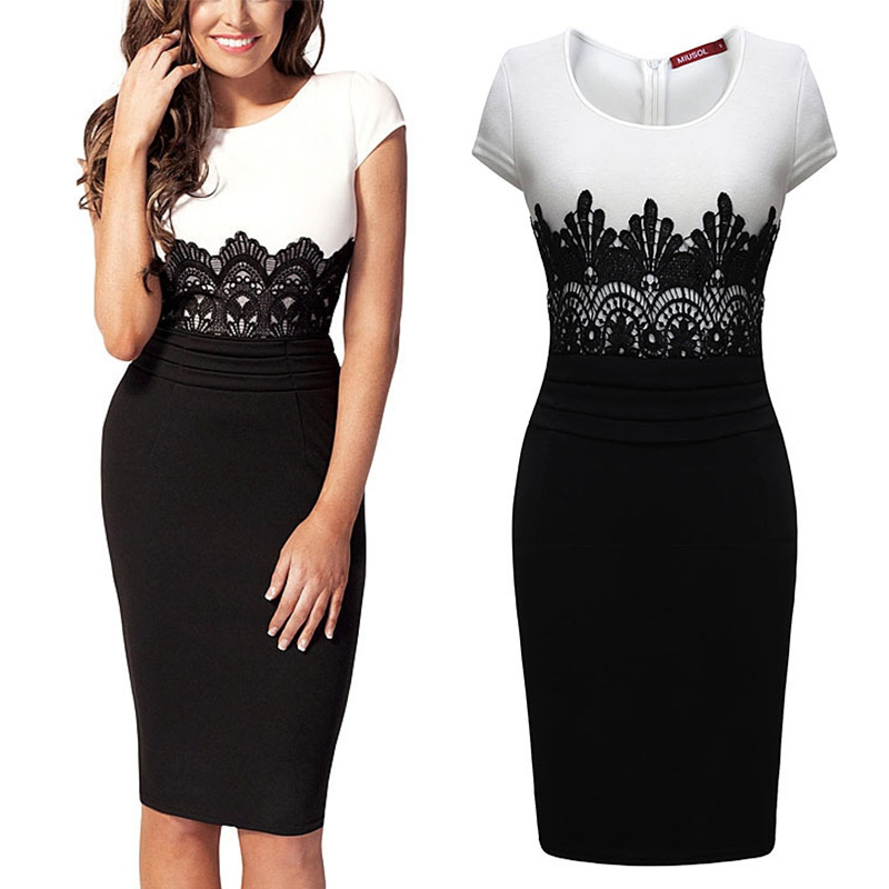 Women Sexy Lace Short Sleeve OL Bodycon Party Cocktail Evening Slim Pencil Dress