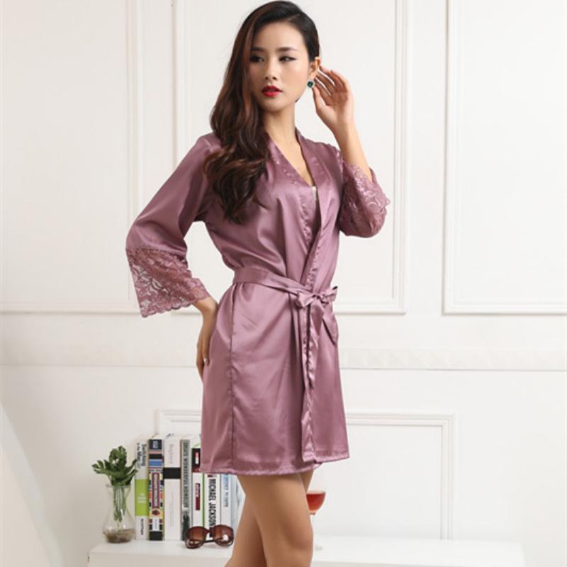 Women\'s Silk Satin Long Sleepwear Dress Pajama Babydoll Robes Gown ...