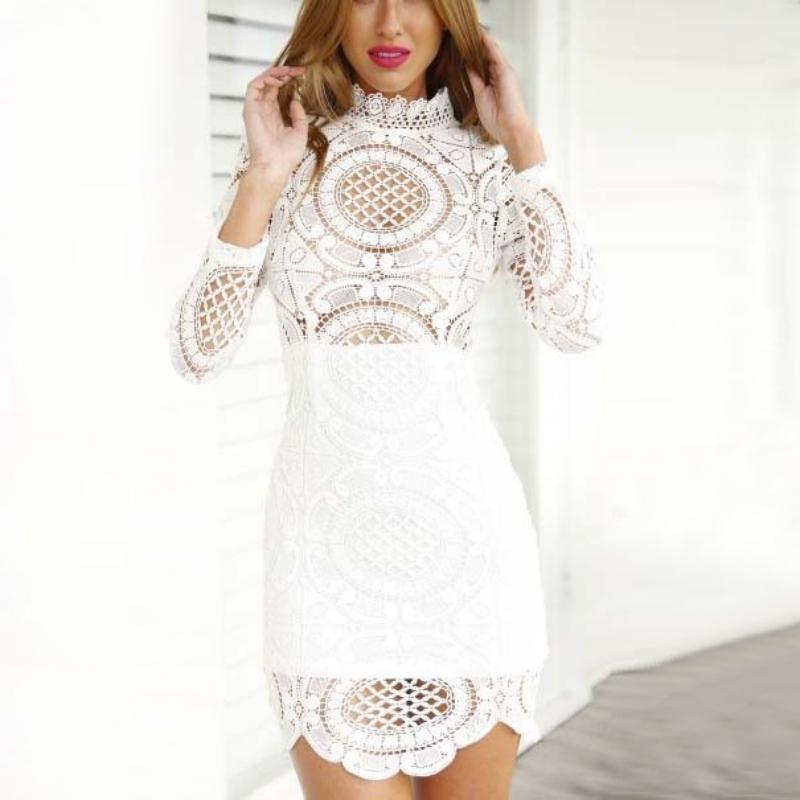 Sexy-Women-Crochet-High-Neck-Hollow-Mesh-Lace-Scallop-Evening-Bodycon-Mini-Dress