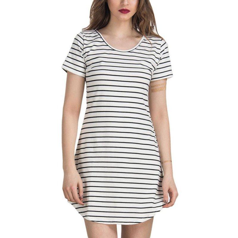 Fashion Women Short Sleeve Stripe Loose Casual T-Shirt Long Tops Mini Dress S-XL