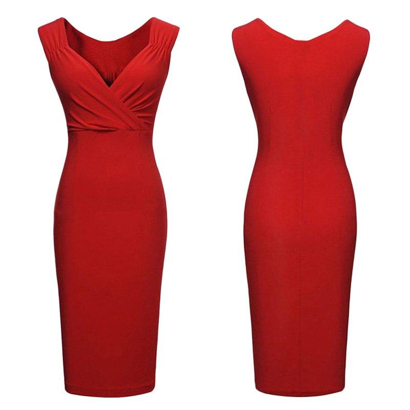 Women-Knee-Length-Deep-V-Slim-OL-Business-Office-Formal-Party-Pencil-Dress-Skirt