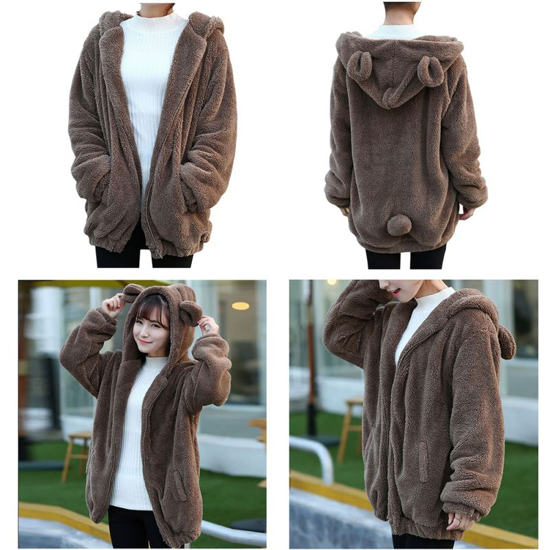 women winter loose bear ear style hoodie jacket warm. Black Bedroom Furniture Sets. Home Design Ideas