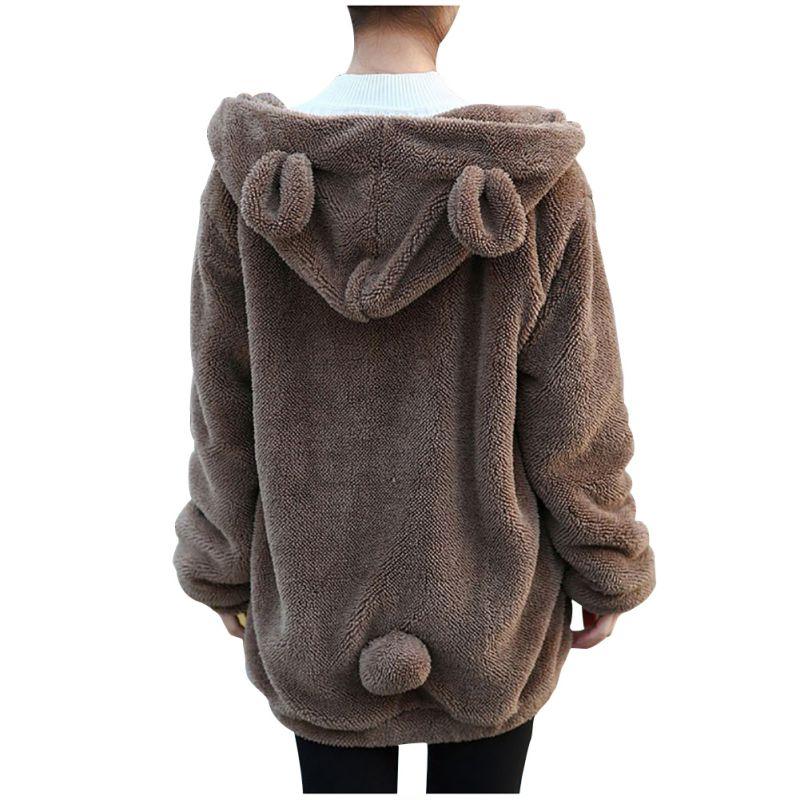 Fashion Women Warm Casual Hoodie Coat Winter Bear Ear