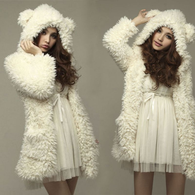 women girl winter loose fluffy bear ear hoodie hooded. Black Bedroom Furniture Sets. Home Design Ideas