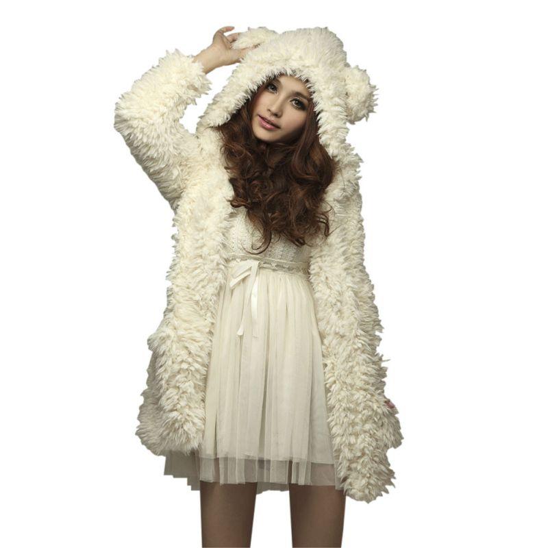women girl winter loose fluffy bear ear hoodie hooded. Black Bedroom Furniture Sets. Home Design Ideas