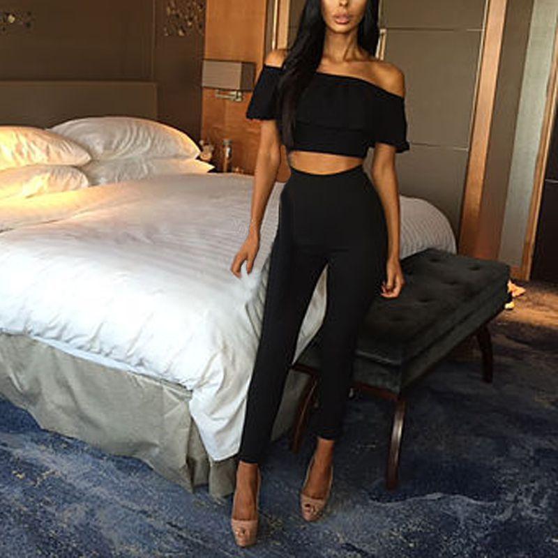 Women Crop Tops+Long Pants Two-piece Set Bodysuit Casual Outfits Playsuit Romper