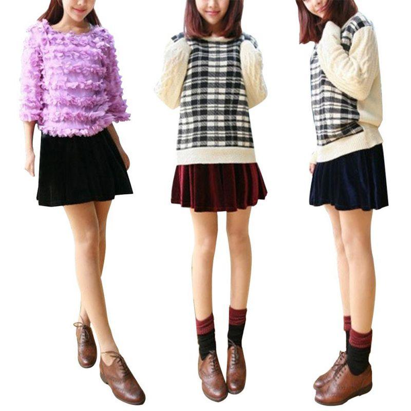 New-Women-High-Waist-A-Line-Mini-Skirt-Vintage-Casual-Velvet-Short-Pleated-Dress