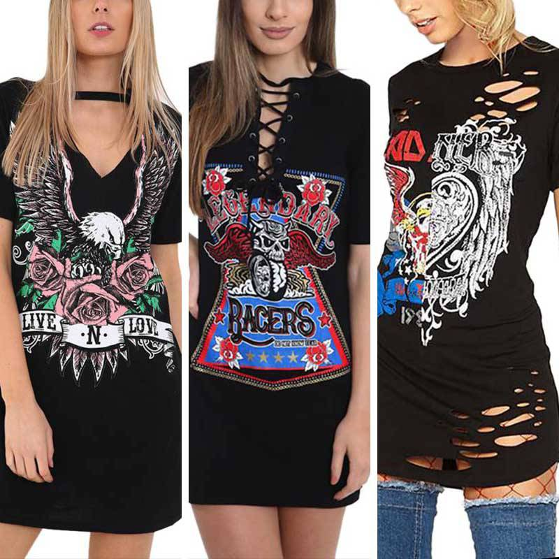 eed581273211 Women Vintage Casual Long Rock Style T-Shirt Mini Dress Party ...
