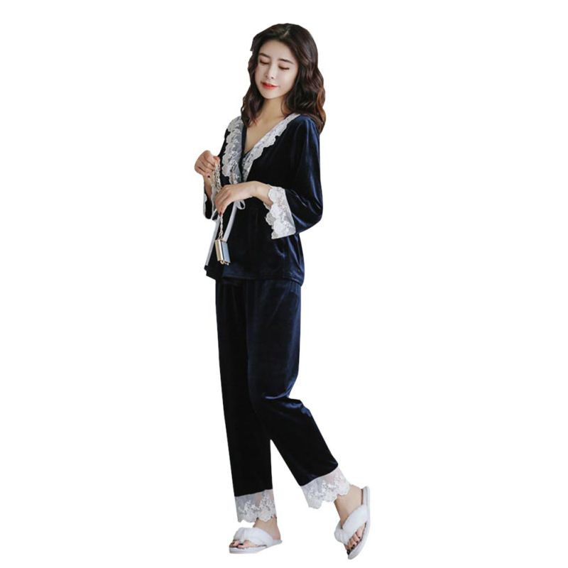 UK-Women-Lace-Velvet-Pajamas-Set-Long-Sleeve-Sleepwear-Nightwear-Homewear-Outfit