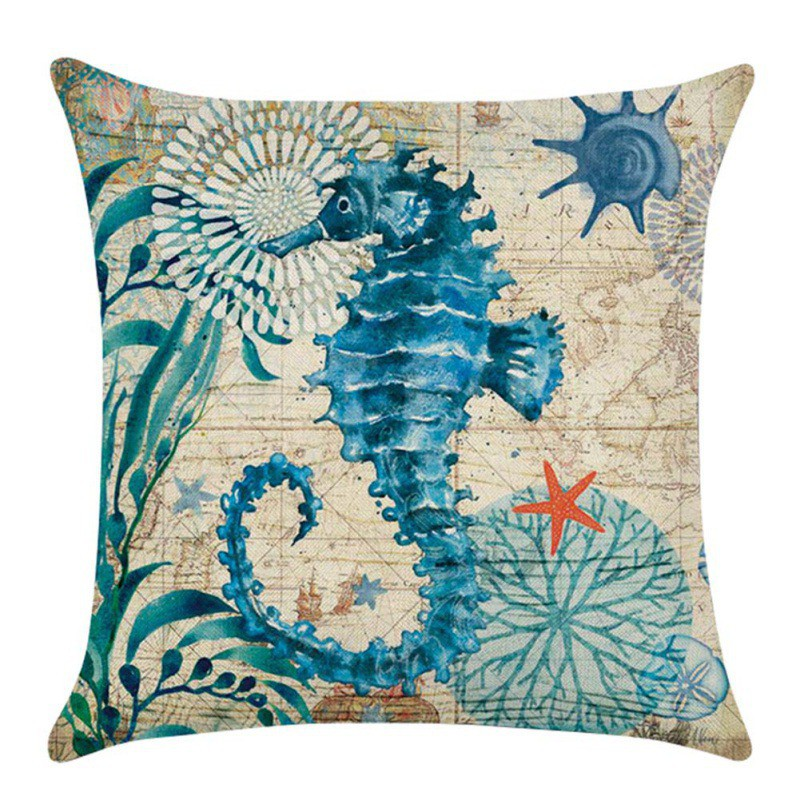 1pc Ocean Theme Flax Pillow Case Waist Throw Car Sofa Cushion Cover Home Decor eBay