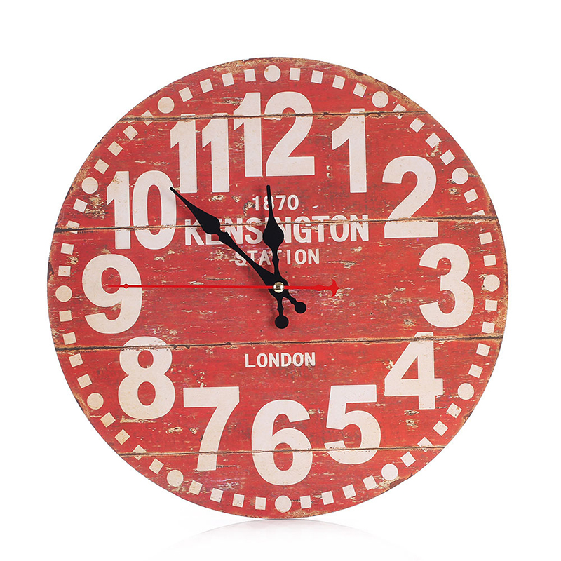 US Vintage Wooden Wall Clock 3D DIY Watches Living Room Home Office ...
