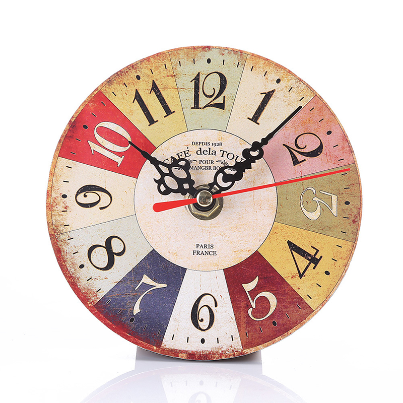 Diy Vintage Rustic Wooden Wall Clock Antique Shabby