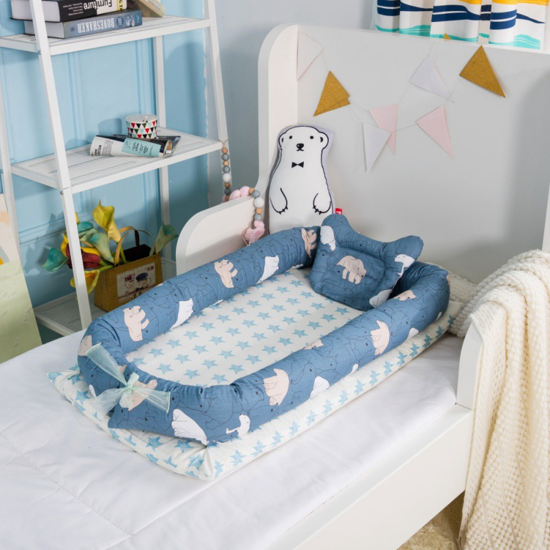 Baby Bed Baby Lounger Newborn Kids Crib Breathable Sleep Nest w// Pillow UK