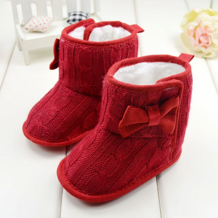 Infant Baby Girl Knit Woolen Snow Boots Yam Furs Bowknot Soft Sole ...