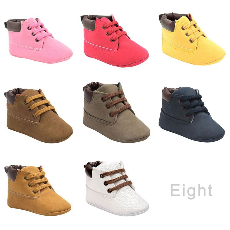 Kids Baby Toddler Boys Girl Boots Lace Up Crib Shoes Soft