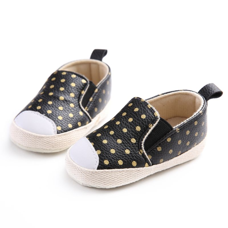 Baby Girls Boy Soft Shoes PU Leather Baby Gold Polka Dots