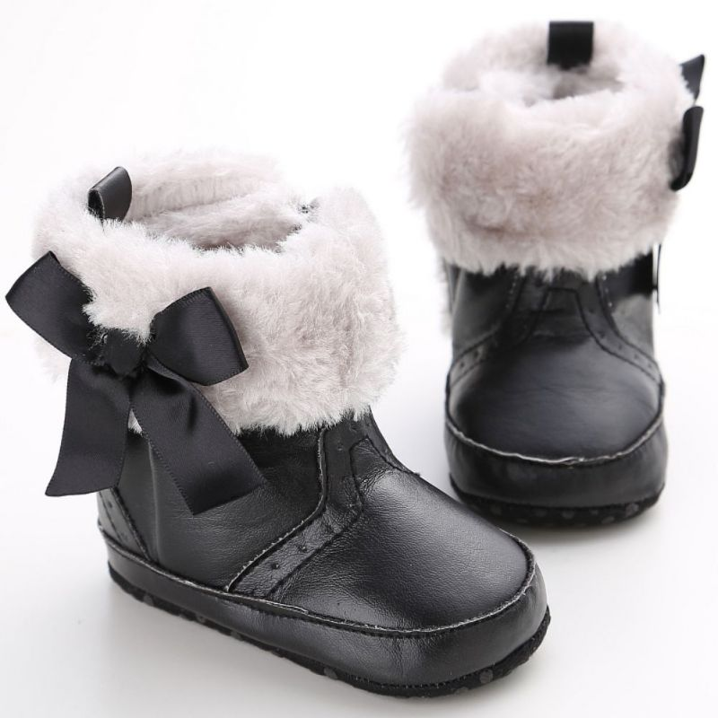 Toddler Baby Girls Warm Winter Boots Soft Sole Crib Shoes