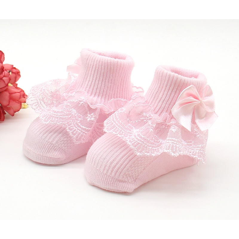 Toddler Baby Girls Cute Ankle Socks Lace Flower Yarn