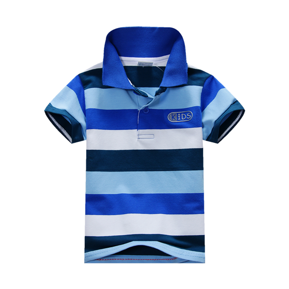 summer kids boys stand collar striped tshirt 6 colors