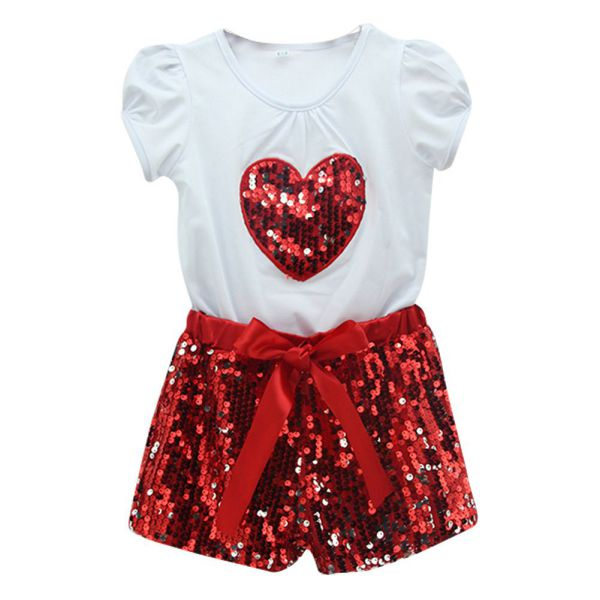 kinder m dchen 2pcs baby kleid pailletten t shirt hosen. Black Bedroom Furniture Sets. Home Design Ideas