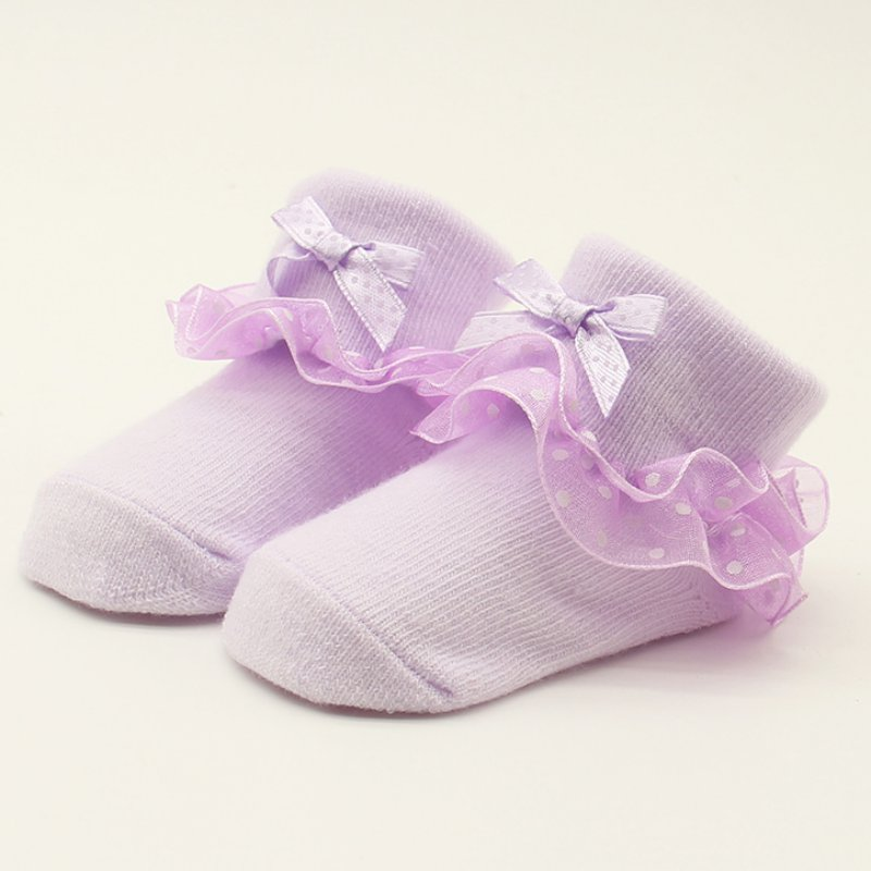 Baby Girls Pink White Ankle Socks Cotton Infants Lace