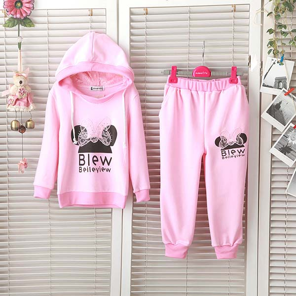 2PCS Baby Girls Hoody Sports Clothes Coat Pants Outfits