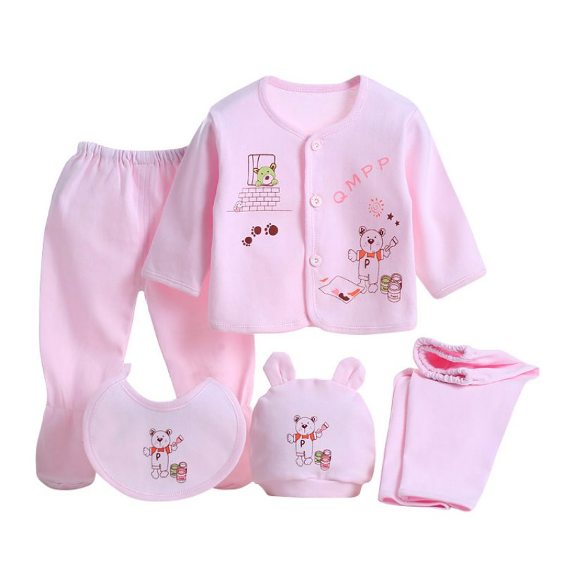 0-3M Newborn Infants 5Pcs Cotton Monk Shirt Pants Baby Boys Girl Outfits Clothes | eBay