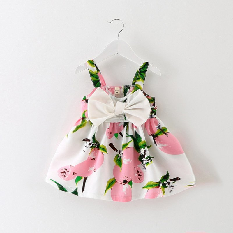 Baby Girl Floral Lemon Dress Newborn Toddler Bowknot