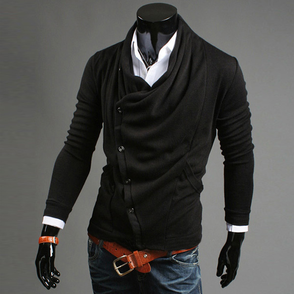 Fashion Mens Long Sleeve Lapel Side Button Knitwear Jacket ... - photo #35