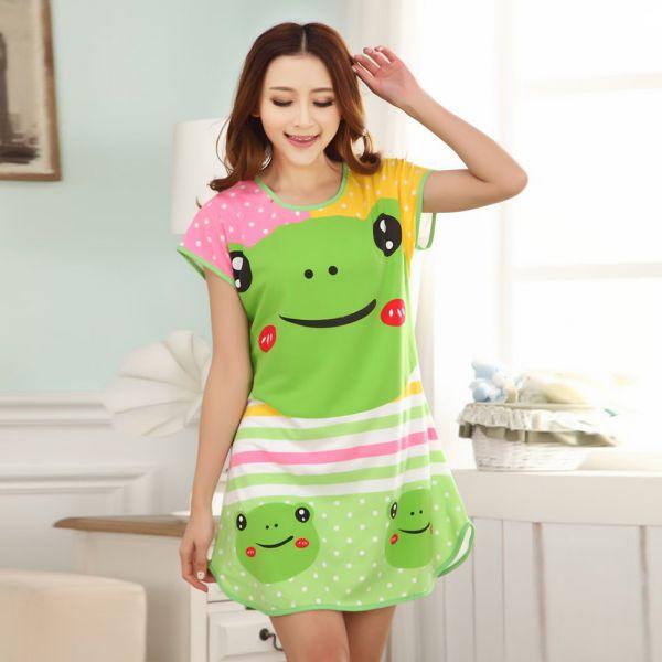 Cute Cartoon Nightdress Women\'s Nightwear Sleepwear Pajamas Girls ...