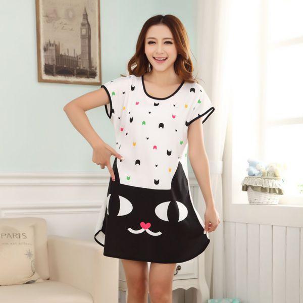 Nice Women Ladies Cartoon Sleepwear Nightwear Pajamas Short Sleeve ...
