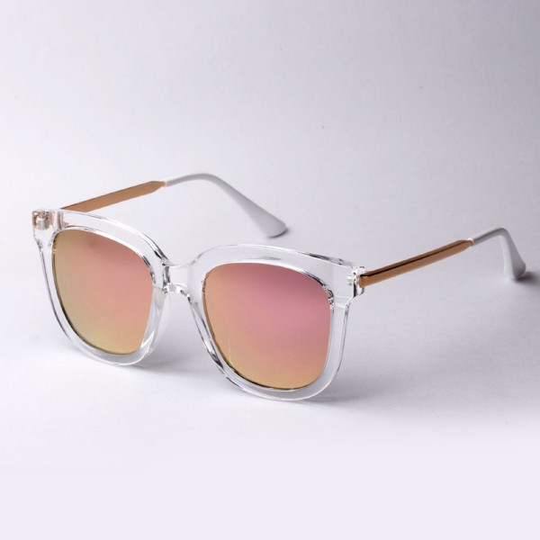 Women Fashion Mirror Sunglasses Retro Vintage Metal Lens Large Oversized Eyewear