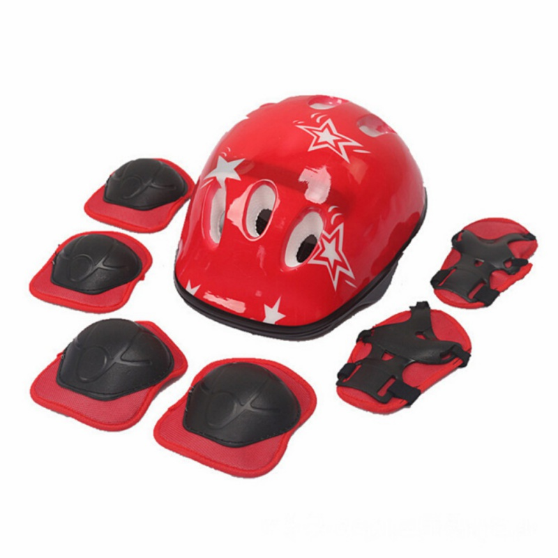 6 /7Pcs Elbow Wrist Knee Pads and Helmet For Kids Skate Cycl