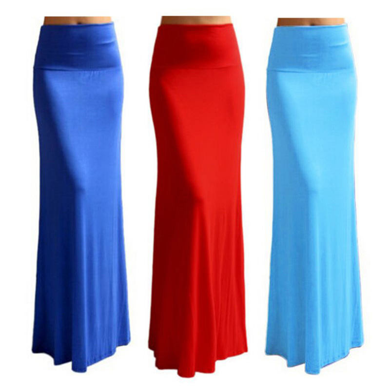 Women Bodycon High Waist Elastic Foldover Jersey Long Maxi Skirt ...