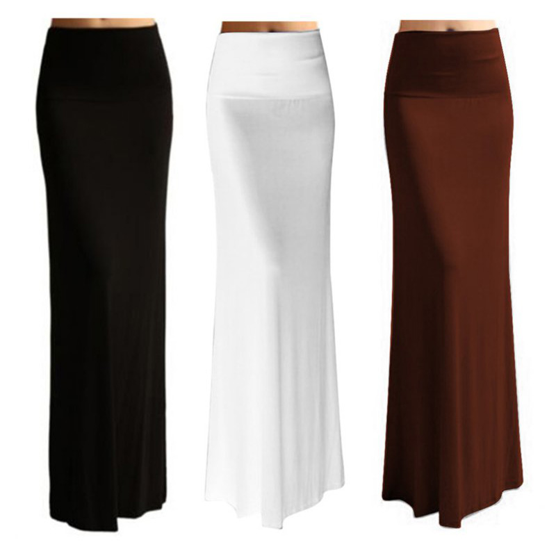 Women Bodycon High Waist Elastic Foldover Jersey Long Maxi Skirt ...
