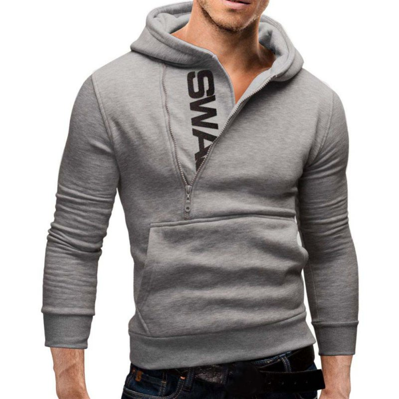 Mens Winter Slim Hoodie Warm Sweatshirt Hooded Coat Jacket Outwear ...